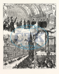 VISIT, PRINCE OF WALES, PRINCESS OF WALES, GLASGOW, ENGRAVING, 1876, UK, britain, british, europe, united kingdom, great britain, european, engraved image, history, historic art, illustrative technique, engravement, Ar