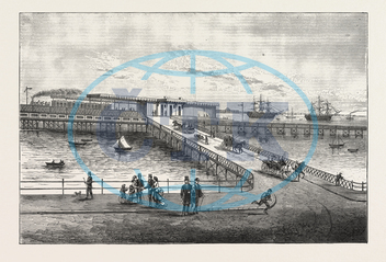 NEW, PIER, RAILWAY STATION, PORTSMOUTH HARBOUR, PORTSMOUTH, ENGRAVING, 1876, UK, britain, british, europe, united kingdom, great britain, european, engraved image, history, historic art, illustrative technique, engrave