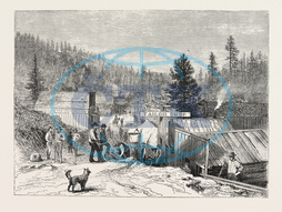 DEADWOOD, CITY, BLACK, HILLS, SIOUX WAR, ENGRAVING, 1876, USA, America, United States, engraved image, history, historic art, illustrative technique, engravement, Arts, Culture, 19th Century Style, Retro Styled, Vintage