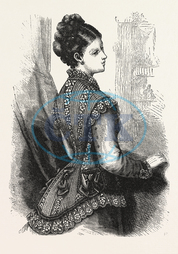 FASHION, NET, INSERTION, LACE, SLEEVELESS, JACKET, ENGRAVING, 1876, UK, britain, british, europe, united kingdom, great britain, european, engraved image, history, historic art, illustrative technique, engravement, Arts,