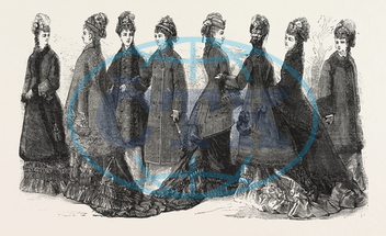 FASHION, LADIES, COSTUMES, AUTUMN, WINTER, ENGRAVING, 1876, UK, britain, british, europe, united kingdom, great britain, european, engraved image, history, historic art, illustrative technique, engravement, Arts, Culture