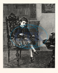 I, SHARP, ENOUGH, PICTURE, J., GIRARDOT, ENGRAVING, 1876, GIRL, VIOLIN, INTERIOR, MUSIC, engraved image, history, historic art, illustrative technique, engravement, Arts, Culture, 19th Century Style, Retro Styled, Vintage