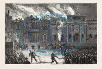 DESTRUCTION, COUNTY HALL, NOTTINGHAM, FIRE, ENGRAVING, 1876, UK, britain, british, europe, united kingdom, great britain, european, engraved image, history, historic art, illustrative technique, engravement, Arts, Cultu