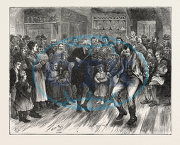 IRISH, DANCING MASTER, AMERICA, ENGRAVING, 1876, USA, America, United States, engraved image, history, historic art, illustrative technique, engravement, Arts, Culture, 19th Century Style, Retro Styled, Vintage, retro,