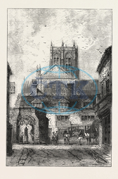 SHERBORNE, DORSET, ENGRAVING, 1876, UK, britain, british, europe, united kingdom, great britain, european, engraved image, history, historic art, illustrative technique, engravement, Arts, Culture, 19th Century Style, R
