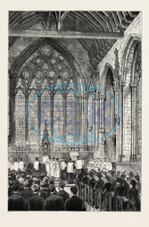 CHAPEL, ST. ETHELDREDA, ELY, CHAPEL, HOLBORN, LONDON, U.K., ENGRAVING 1879, UK, britain, british, europe, united kingdom, great britain, european, 19th century engraving, engraved image, history, illustrative technique