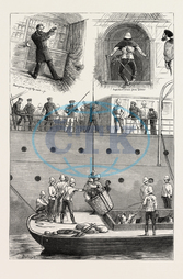 BOARD, TROOPSHIP, MILITARY, LIFE, UK, britain, british, europe, united kingdom, great britain, european, ENGRAVING 1879, 19th century engraving, engraved image, history, illustrative technique, engravement, engraving,