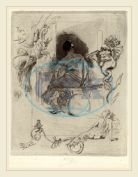 Félicien Rops, Belgian, 1833-1898, La Derni`ere Maja, 1880, drypoint with etching and aquatint on light blue laid paper, Félicien, Rops