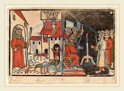 Spanish, 15th, Century, Massacre, Firstborn, Egyptian, Darkness, 1490, hand, colored, woodcut