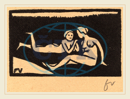Félix Vallotton, Bathers on the Grass, Baigneuses étendues sur l'herbe, Swiss, 1865-1925, 1893, woodcut in black on brown wove paper, Félix, Vallotton
