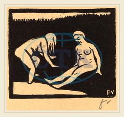 Félix Vallotton, Leaving the Water, La sortie du bain, Swiss, 1865-1925, 1893, woodcut, brown wove paper, Félix, Vallotton