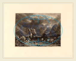 Alexandre Calame, Storm in the Mountains, Swiss, 1810-1864, 1840-1850, etching on chine collé, Alexandre, Calame