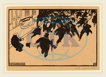 Félix Vallotton, La Manifestation, The Demonstration, Swiss, 1865-1925, 1893, woodcut, Félix, Vallotton
