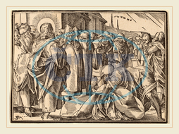 Christoph Murer, The Paralytic Healed by Christ Picks up His Pallet, Swiss, 1558-1614, woodcut, Christoph, Murer