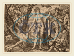 Melchior Meier, Apollo and Marsyas, Swiss, 1582, 1581, engraving, Melchior, Meier