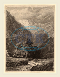 Swiss 19th Century, Mountainous Landscape, 1838, etching on thin wove paper, Swiss, 19th, Century