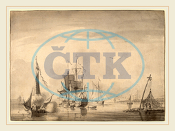 John Greenwood, Harbor Scene, American, 1727, 1792, 1760, brush, gray, ink, gray, wash, laid, paper, John, Greenwood
