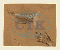 Benjamin West, Study of a Right Arm and a Left Hand, American, 1738, 1820, black, chalk, heightened, white, brown, laid, paper, Benjamin, West