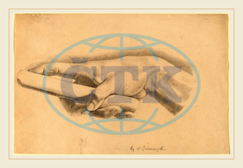 Horatio Greenough, Study of a Hand, American, 1805, 1852, graphite, wove, paper, Horatio, Greenough