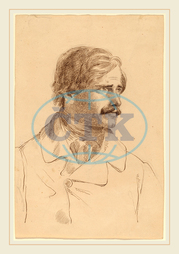 Horatio Greenough, The Artist's Brother-Richard Greenough, American, 1805, 1852, 1850, pen, brown, ink, graphite, wove, paper, Horatio, Greenough