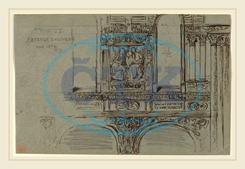John La Farge, Trinity Church, Boston, nave-Mural Study, American, 1835, 1910, 1876, graphite, pen, brown, ink, brush, brown, ink, gray, blue, wove, paper, John, La, Farge