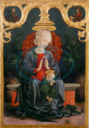Cosm`e Tura, Madonna and Child in a Garden, Italian, 1433, 1495, 1460, 1470, tempera, oil, panel, Cosm`e, Tura