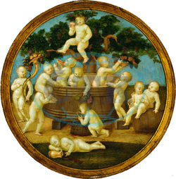 Follower of Raphael, Putti with a Wine Press, 1500, oil on panel, Raphael