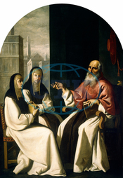 Francisco de Zurbarán and Workshop, Saint Jerome with Saint Paula and Saint Eustochium, Spanish, 1598, 1664, 1640, 1650, oil, fabric, Francisco, de, Zurbarán