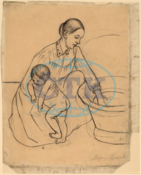 Mary, Cassatt, Bath, recto, American, 1844, 1926, 1891, graphite, black, crayon, Mary Cassatt