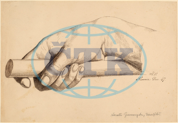 Horatio, Greenough, Right, Hand, Holding, Short, Rod, American, 1805, 1852, 1847, pen, brown, ink, graphite, wove, paper, Horatio Greenough