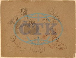 Thomas, Sully, Studies, Major, Thomas, Biddle, Thomas, Wilcocks, Sully, American, 1783, 1872, 1820, pen, brown, ink, graphite, gray, laid, paper, Thomas Sully