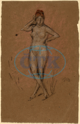 James, McNeill, Whistler, Nude, Standing, Legs, Crossed, American, 1834, 1903, 1878, chalk, brown, paper, James McNeill Whistler