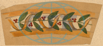 Charles, Sprague, Pearce, Study, Border, Design, American, 1851, 1914, 1890-1897, gouache, graphite, tan, wove, paper, Charles Sprague Pearce