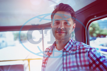 30s, Mid Adult, Man, Male, Caucasian, Tourist, Passenger, Traveler, Bus, Transport, Public Transport, Convenience, Casual Clothing, Standing, Smiling, Happy, Cheerful, Confidence, Handsome, Smart,  Window, Travel, Journey,