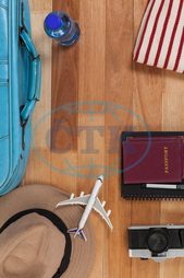 Concept, Conceptual, Travel, Traveler, Wooden, Plank, Dairy, Pen, Camera, Digital Camera, Aeroplane, Toy Aeroplane, Passport, Suitcase, Baggage, Luggage, Water Bottle, Water, Sun Hat, Towel, Accessories, Holiday, Vacation,