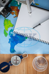 Concept, Conceptual, Travel, Traveller, Camera, Digital Camera, Map, World Map, Water, Glass, Diary, Pen, Aeroplane, Toy Aeroplane, Accessories, Compass, Device, Direction, Holidays, Vacation, Tourism, Journey, Adventure, D