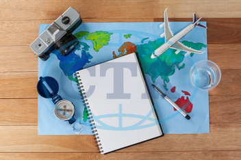 Concept, Conceptual, Travel, Traveler, Camera, Digital Camera, Map, World Map, Diary, Pen, Aeroplane, Toy Aeroplane, Accessories, Compass, Device, Direction, Navigation, Water, Glass, Wooden, Plank, Holiday, Vacation, Touri