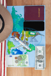 Concept, Conceptual, Travel, Traveler, Map, World Map, Aeroplane, Toy Aeroplane, Accessories, Wooden, Plank, Sunglasses, Coin, Note, Cash, Dollar, Money, Passport, Keys, Hat, Currency, Finance, Wealth, Economy, Web, Internet,