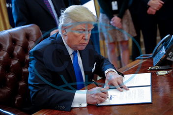 US President Donald Trump signs executive orders on oil pipelines