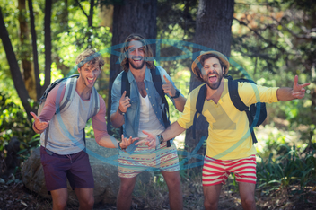 20s, Young Adult, Man, Male, Caucasian, Forest, Countryside, Tree, Summer, Sunny, Casual Clothing, Hat, Standing, Shouting, Smiling, Cheerful, Happy, Rucksack, Backpack, Leisure, Lifestyle, Handsome, Spare Time, Free Time, V