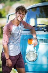20s, Young Adult, Man, Male, Caucasian, Park, Countryside, Summer, Sunny, Sunlight, Casual Clothing, Standing, Leaning, Smiling, Cheerful, Happy, Campervan, Leisure, Lifestyle, Handsome, Confidence, Spare Time, Free Time, V