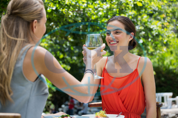 Woman, Female, Caucasian, Young Adult, Happy, Smiling, Cheerful, Togetherness, Leisure, Lifestyle, Together, Spare Time, Free Time, Time Off, Enjoying, Happiness, Summer, Summertime, Holding, Wine, White Wine, Wineglass, A