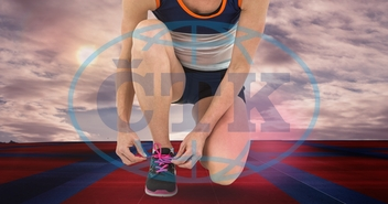 Sky, Sport Field, Day, Outdoors, Sunlight, Cloud, Red, Blue, Sport, Field, Horizon Over Land, Sunny, Digitally Generated Image, Computer Graphic, Sportswoman, White Background, Shoelace, Sports Wear, Tying, Low Section,