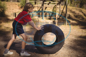 Child, Boy, Male, Caucasian, Boot, Camp, Boot Camp, Sunny, Summer, Park, Kid, Sportswear, Athlete, Athletic, Obstacle Course, Obstacle, Sports, Determined, Determination, Heavy, Huge, Tyre, Exercise, Exercising, Practice, Pra