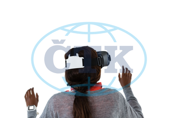 20s, Young Adult, Woman, Female, Black, Virtual Reality Simulator, Virtual Reality, Futuristic, Wearable Computer, Wireless Technology, Casual Clothing, Lifestyle, Leisure, Spare Time, Free Time, Time Off, Collar, Sta