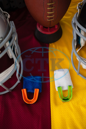 Protection, Safety, Security, Grill, Headgear, Sports Gear, Sports Helmet, Helmet, American Football, Sport, Competitive Sport, Team Sport, Competition, Still Life, Sports Equipment, Ball, Sport Ball, Tee, Rivalry, Conf
