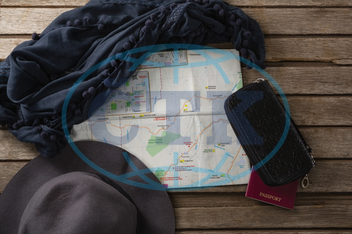 Wood, Wooden Plank, Table, Accessories, Passport, Pouch, Fabric, Textile, Hat, Map, Direction, Location, Navigation, Guidance, Assistance, Exploration, Lifestyle, Vacation, Holiday, Travel, Journey, Weekend Activity, Ident