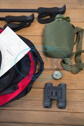 Wood, Wooden Plank, Table, Water Bottle, Backpack, Navigation Compass, Hiking Pole, Map, Order, Sequence, Arranged, Arrangement, Travel, Vacation, Exploration, Adventure, Technology, Direction, Guidance, Recreation, Holi