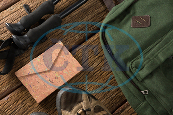 Wood, Wooden Plank, Table, Shoes, Backpack, Envelope, Hiking Pole, Order, Sequence, Arranged, Arrangement, Travel, Vacation, Exploration, Adventure, Technology, Direction, Guidance, Recreation, Holiday, Variety, Hygiene, S