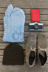 Wood, Wooden Plank, Table, Accessory, Passport, Folded, Shirt, Shoes, Pair, Lace, Hat, Camera, Vintage, Lens, Memory, Technology, Identity, Travel, Vacation, Trip, Holiday, Preparation, Arranged, Order, Trip, Global Communica